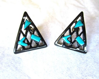80s Black Turquoise Triangle Painted Metal Pierced Ears