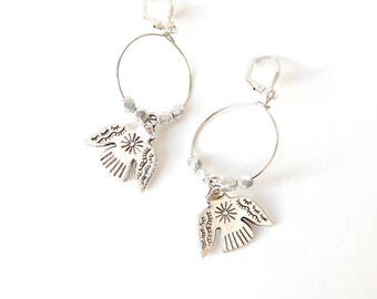 Shaman - Hoop earrings, silver beads and bird charms faceted