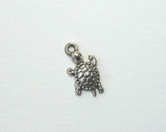 Set of 4 turtle charms, silver, 22 mm x 12 mm.