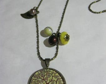 """Pendant necklace/retro/vintage bronze with glass cabochon 25mm """"Tree of life"""""""
