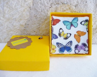 Set of 7 butterflies, cleansing wipes or baby washable, cotton and sponge bamboo - birth gift - spring, Easter