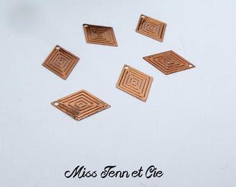 Prints 6 diamonds filigree copper rose Gold 1.9 x 1.4 cm