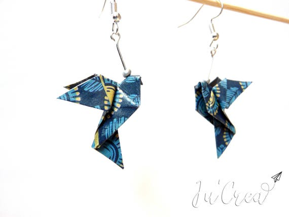 Origami Dove Blue Earrings
