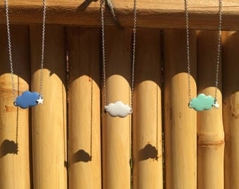 Cloud necklace on silver chain