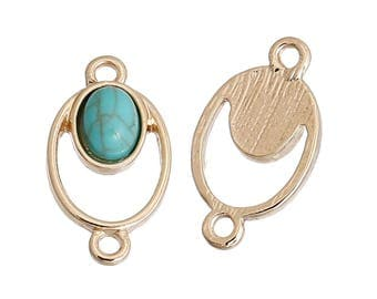 Geometric jewelry connector in gold metal and imitation turquoise stone