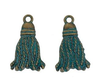 PomPoms blue patina antique bronze metal charms
