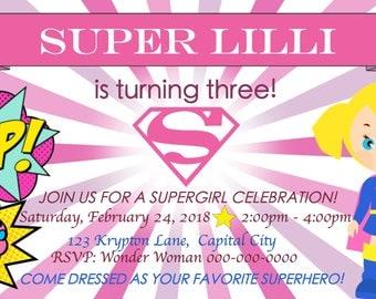 Supergirl Birthday Invitation Digital Download