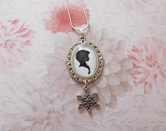 "Glass cabochon pendant necklace ""Anna the snow Queen"""