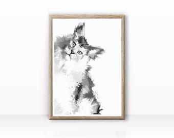 "Cat illustration ""Maine Coon"" fine arts print"
