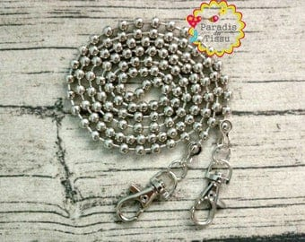 Pretty 1X120cm chain bead 6mm silver carabiners to attach bag