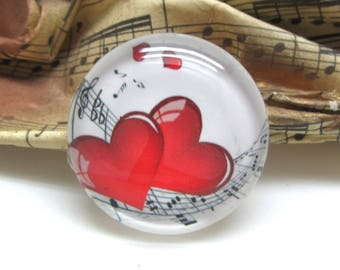 1 cabochon 30 mm glass hearts red music 2-30 mm