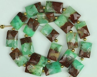 Awesome Arrival, 10 piece faceted Chrysoprase Rectangle Beads, 5 x 10 x 15 mm approx