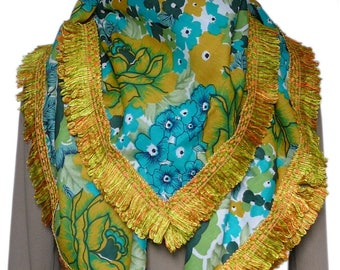 Scarf/shawl square cotton green and yellow flowers & yellow fringe