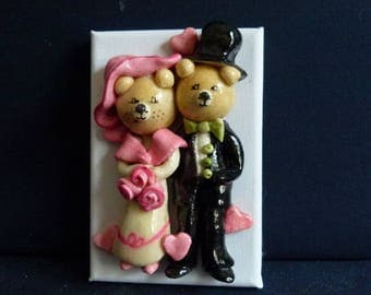 a couple of bears in full wedding which s like this.