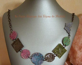 Vintage brass - medley of circles and squares and Butterfly Necklace