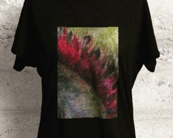 Boyfriend, Boatneck Black Tee, Half Sleeves, (Medium) with Seed of Life Painting by Noora Elkoussy - In stock!