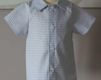 shirt 12 months in light grey and white gingham cotton