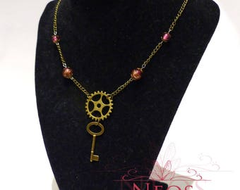 Adornment necklace and steampunk Bracelet, pink and brass