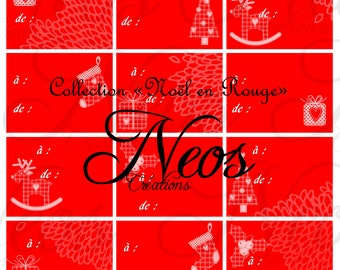 Digital Christmas tags in red print