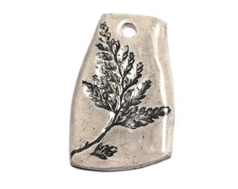 No. 22 - porcelain ceramic pendant prints plant leaf 50mm grey Beige Ecru - 8741140004054