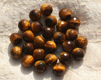 2PC - stone beads - Tiger eye faceted 10mm 4558550015686 balls