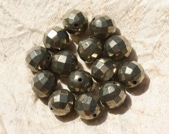 Stone - Pyrite Golden faceted ball 12mm 4558550018762 bead 1pc-