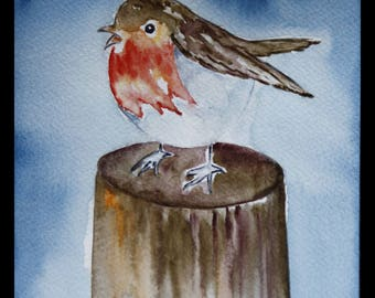 Original illustration painted in watercolor on ARCHES 300 g/m²petit Robin