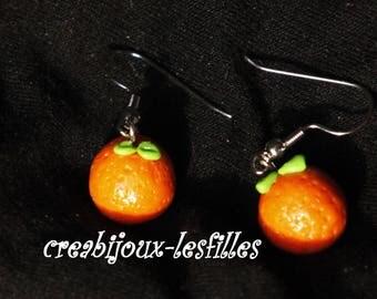ears •mandarine •orange.•cadeaux•bijoux• noel•kawaii Fimo•.boucles