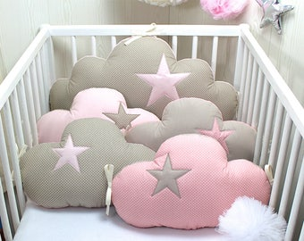Baby cot bumper for 60cm wide bed, 5 cloud pillows, pink, taupe color