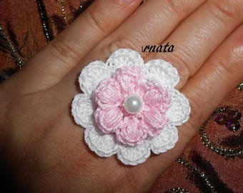 Crochet pink white flower ring