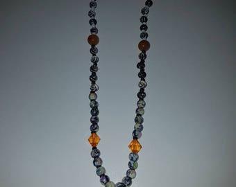 Black necklace handmade orange.