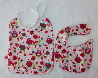 set of two bibs with Terry cloth and cotton