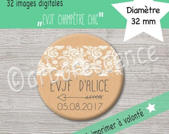 "Bachelorette party ""country chic"" - 32 digital to print at will - Images for cabochon, badge, jewelry"