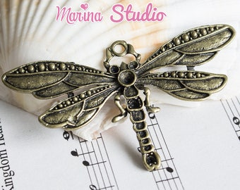 Large Bronze Dragonfly pendant size 73x42mm