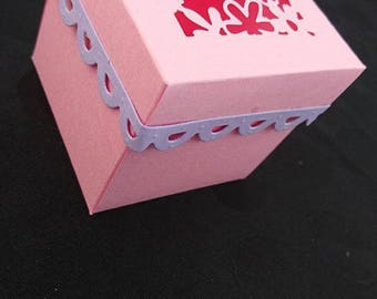 Cut set of 5 boxes pink and purple