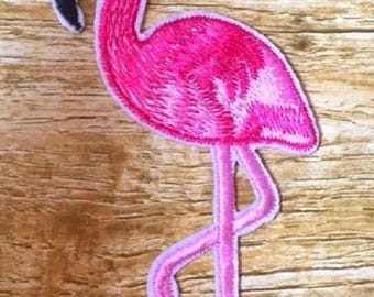 Patch embroidered patch Thermo - pink Flamingo bird * 6 x 10 cm *.