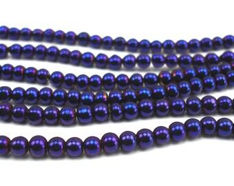70 metallic 4 mm plum glass beads