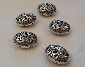 silver metal beads filigree (set of 8)