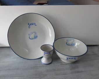 "Customizable ""little bear"" plate-bowl-Eggcup set"