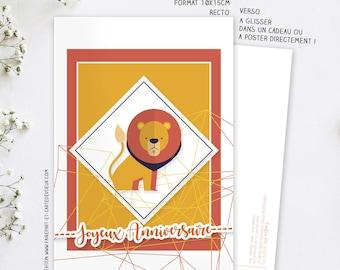 Lion birthday card - postcard illustration - card happy birthday child and adult