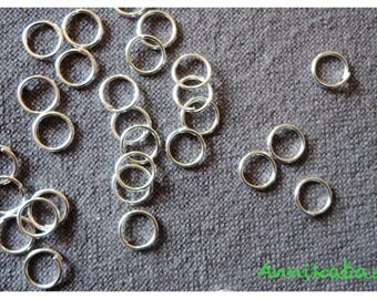 50 6mm silver-plated open jump rings