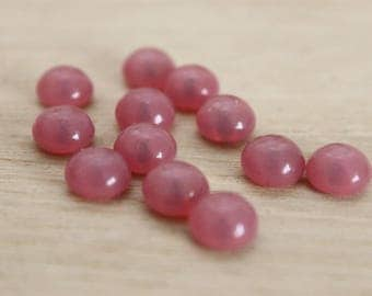 10 round 8 mm glass cabochons, 6 pink