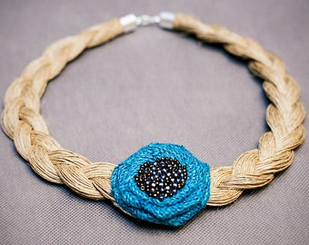 Beige linen necklace with blue flower! 60 cm // 24 inches! HANDMADE LINEN NECKLACE