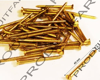 Set of 20 wood brass Metal large length 49x3.8 mm screws