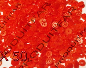 Set of 50 snap resin Kam T5 color red 12 mm
