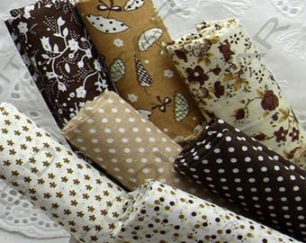 Set of 7 Coupons from cotton fabric 45 x 50 cm stitching tone Brown Patchwork