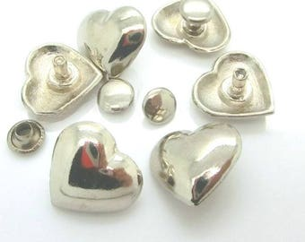 Rivets, brads silver-plated heart set of 6 pieces