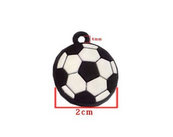 Soccer ball black and white silicone pendant. Size 2 cm.