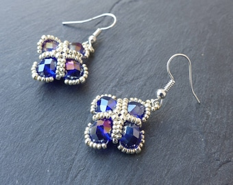 ♥ shiny earrings handwoven, blue and silver ♥