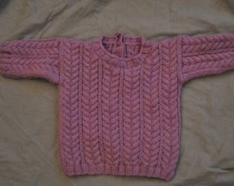 Irish purple knitted jumper for baby size 6 months